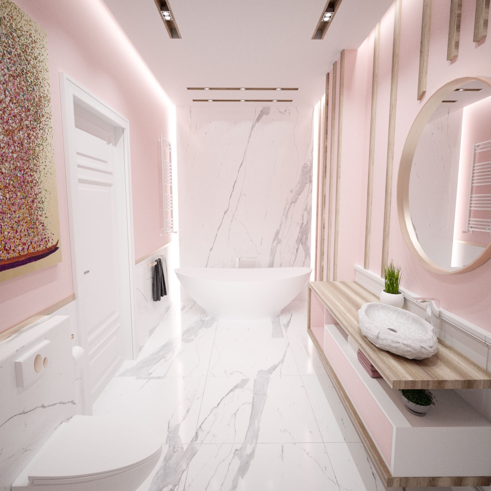 Pink Bathroom With Carrara Marble And Wooden Details