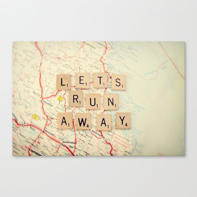 let's run away Stretched Canvas by shannonblue - $85.00