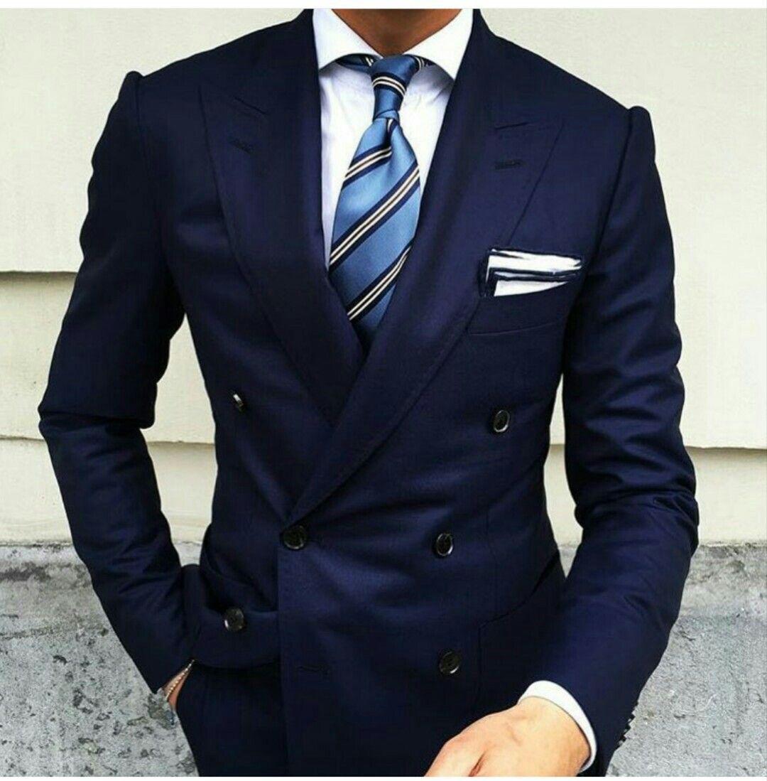 Dark blue double breasted suit   Vestiti eleganti da uomo