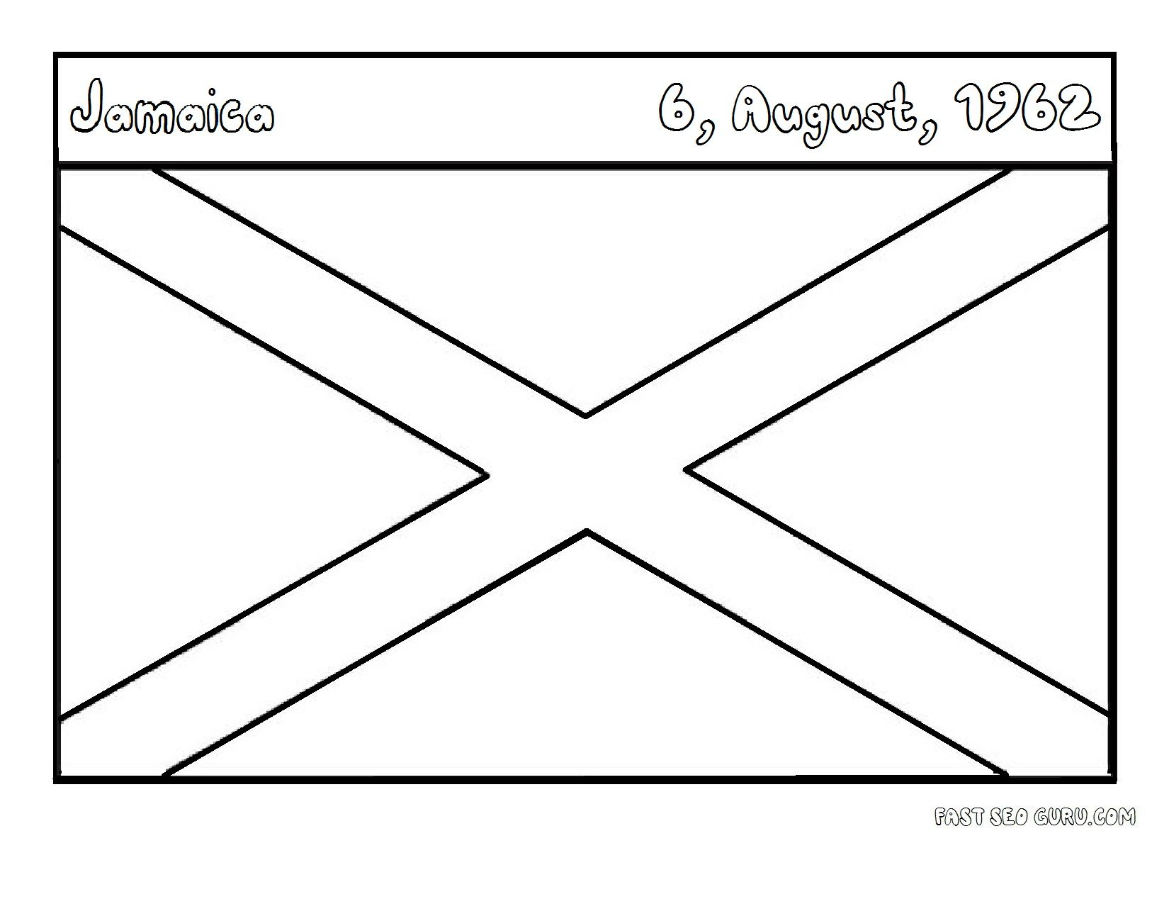 Flags Of Jamaica Coloring Page For Kids Jamaica Flag Kids