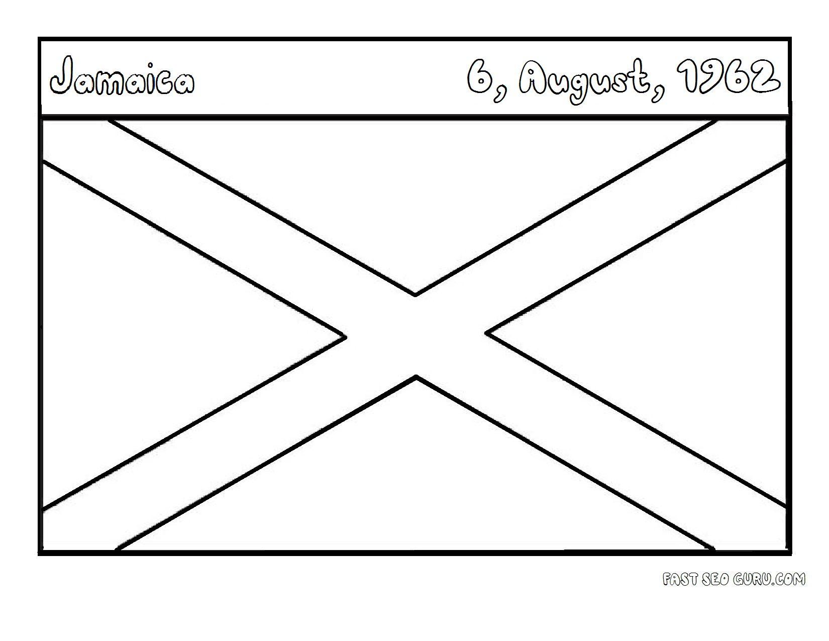 Jamaica Flag Printables | Jamaica flag, Flag coloring pages, Jamaica | 1275x1650