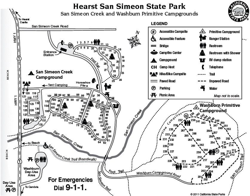 Lake Lopez Camping Map San Simeon State Park & Campground   Cambria, CA, United States