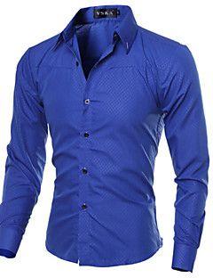 Camisa De los hombres A Cuadros Casual-Algodón   Poliéster-Manga  Larga-Negro   Azul   Rojo   Blanco 304b0dcec94