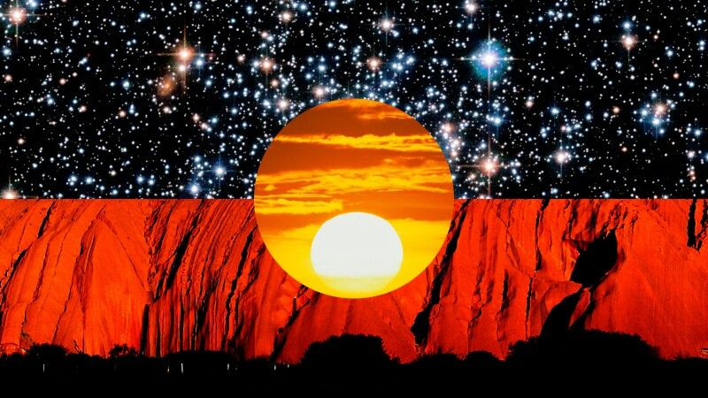 Magnificent Aboriginal Flag Art Incorporating Ayers Rock Into The