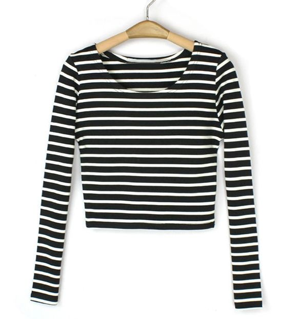 Women's Boat Neck Crop Striped Long Sleeve Slim Blouse Tops T Shirt