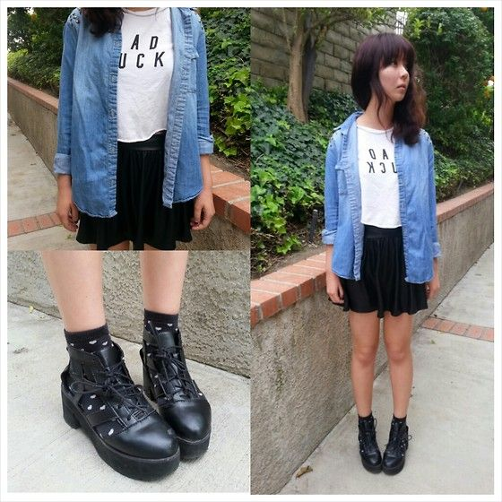 Brandy♡Melville Bad Luck, Forever 21 Studded Jean Shirt, Kai Mei Leather Platform, Forever 21 Heart Ankle Socks, Forever 21 Pleather Skirt