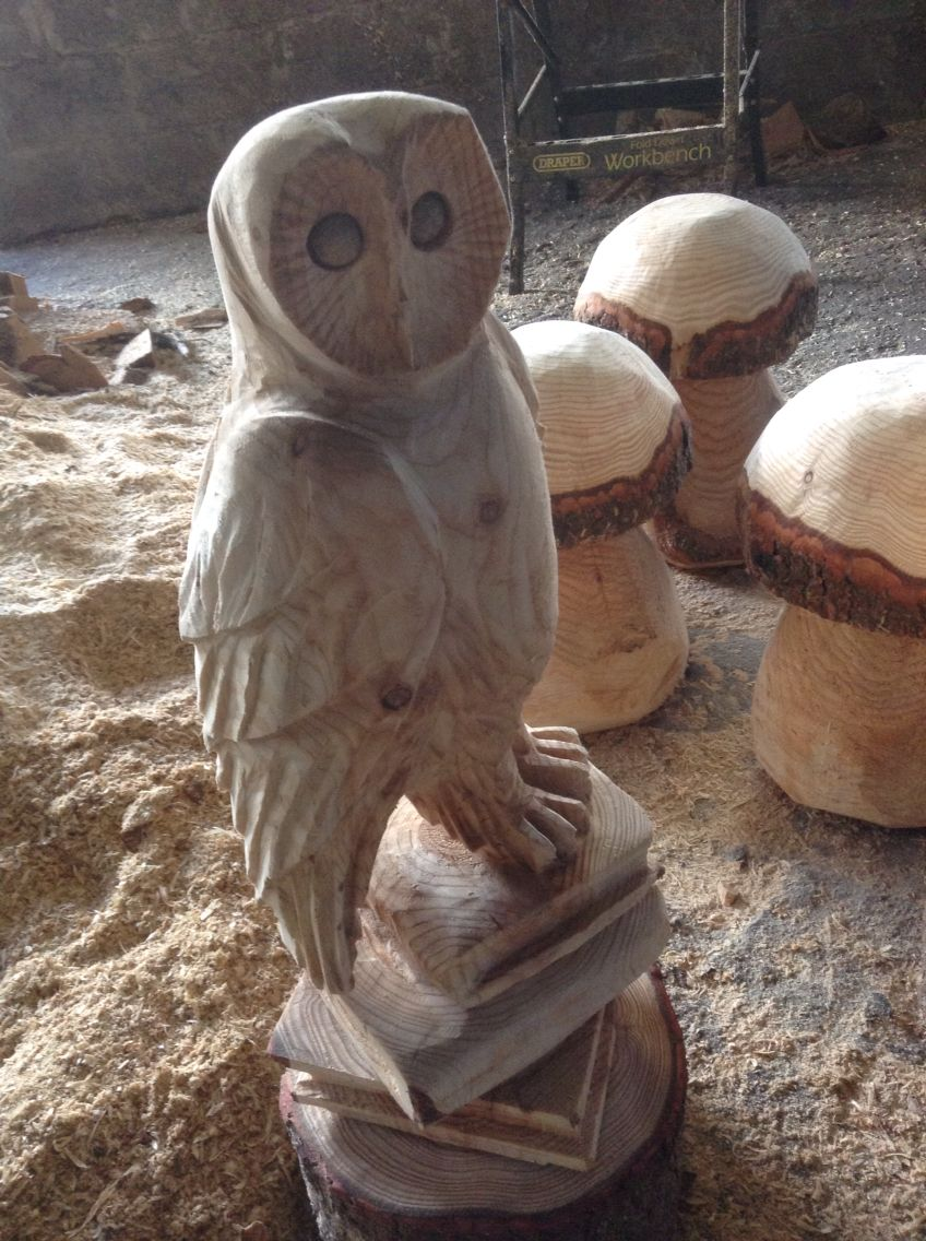 Chainsaw carved owl on books chainsaw carving