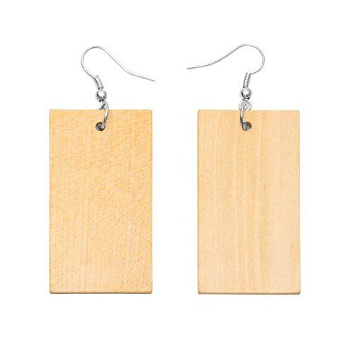 """Natural Wooden Unfinished Square 1.5"""" x 2.25"""" x 1//8"""" 10 pcs NEW"""