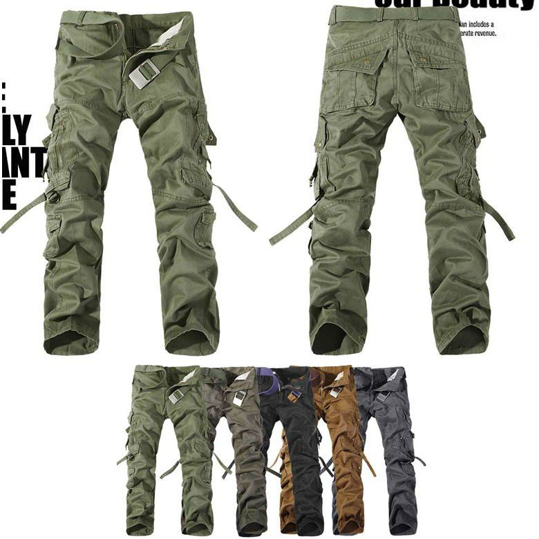 MENS CASUAL MILITARY ARMY CARGO CAMO COMBAT WORK PANTS TROUSERS 29-38  MF-3609