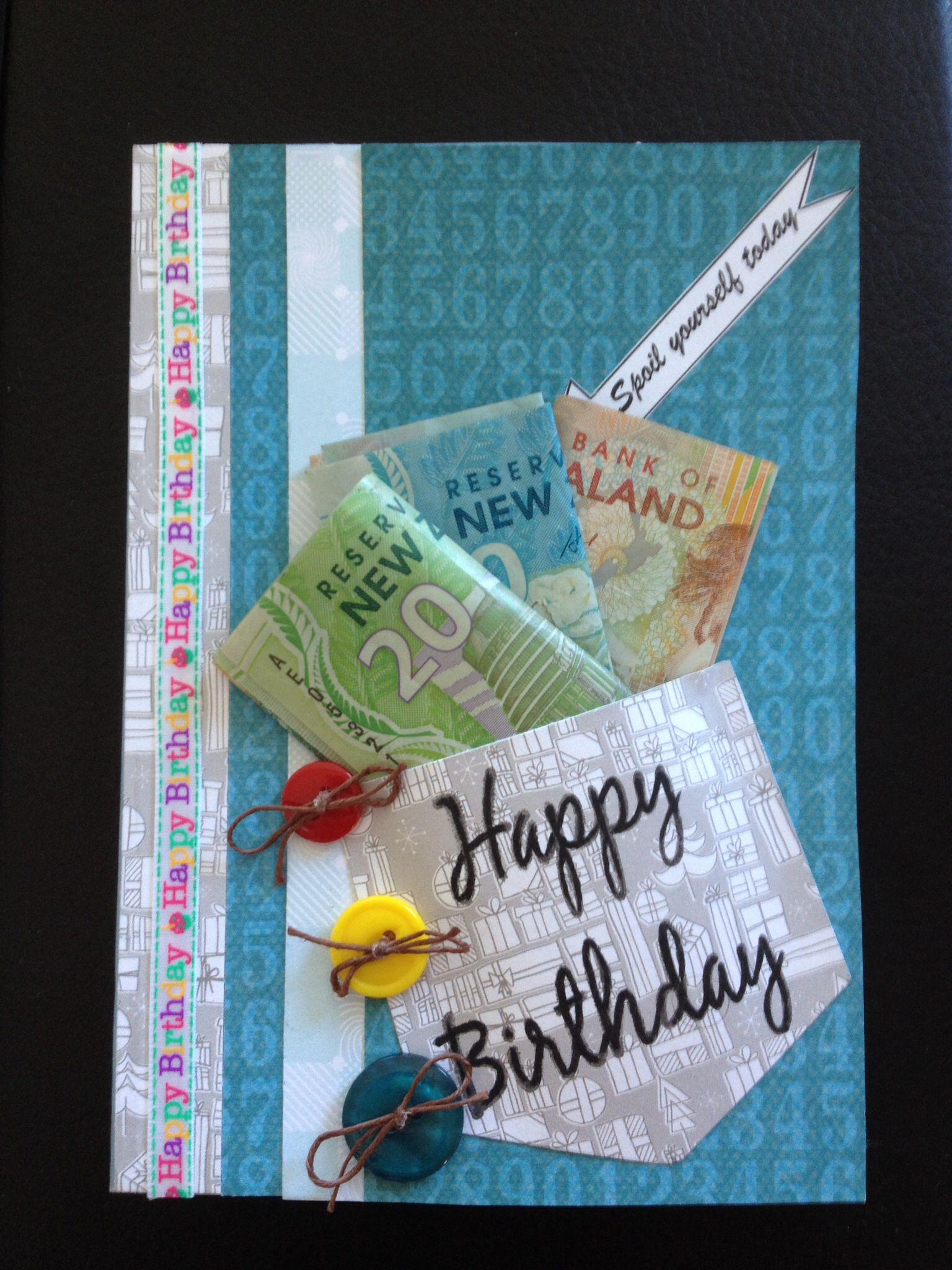 Birthday Card Money Homemade Cards Creative Cards Card Making