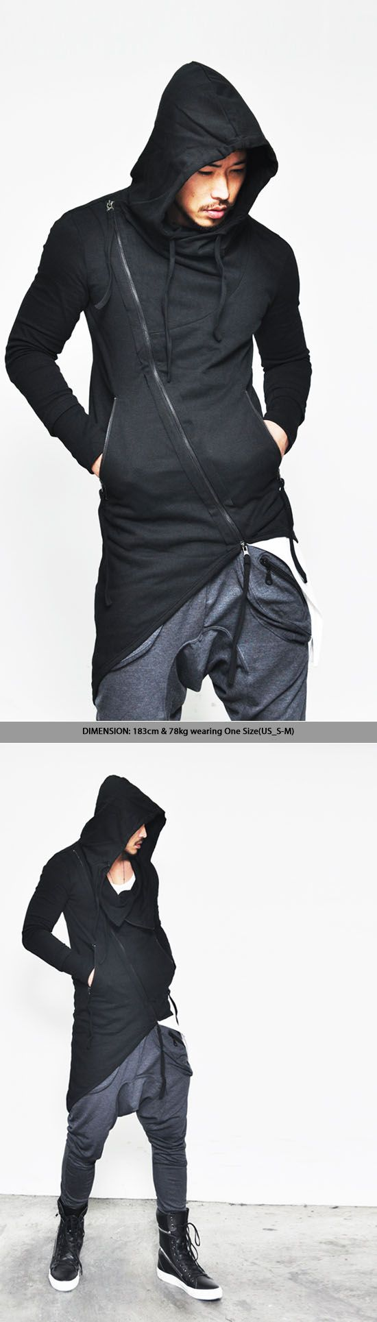 Outerwear :: Jackets :: Asymmetric Unbalance Haute Couture Hooded-Jacket 48 - Mens Fashion Clothing For An Attractive Guy Look