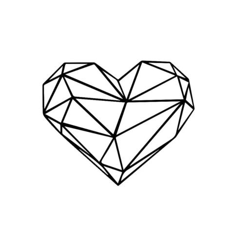 Stickers Coeur Cubique Diy Deco Dessin Geometrique Epoque Geometrique Dessin Coeur