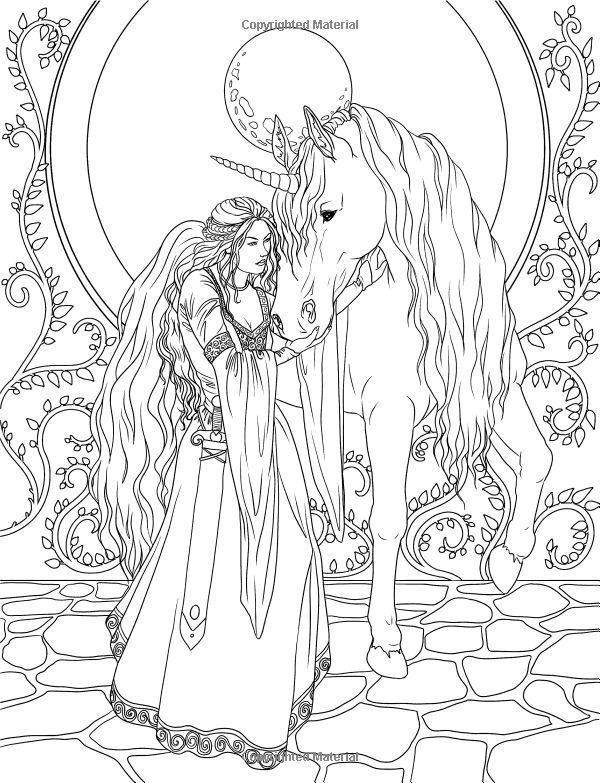 Faerie And Unicorn Coloring Page Unicorn Coloring Pages Fairy