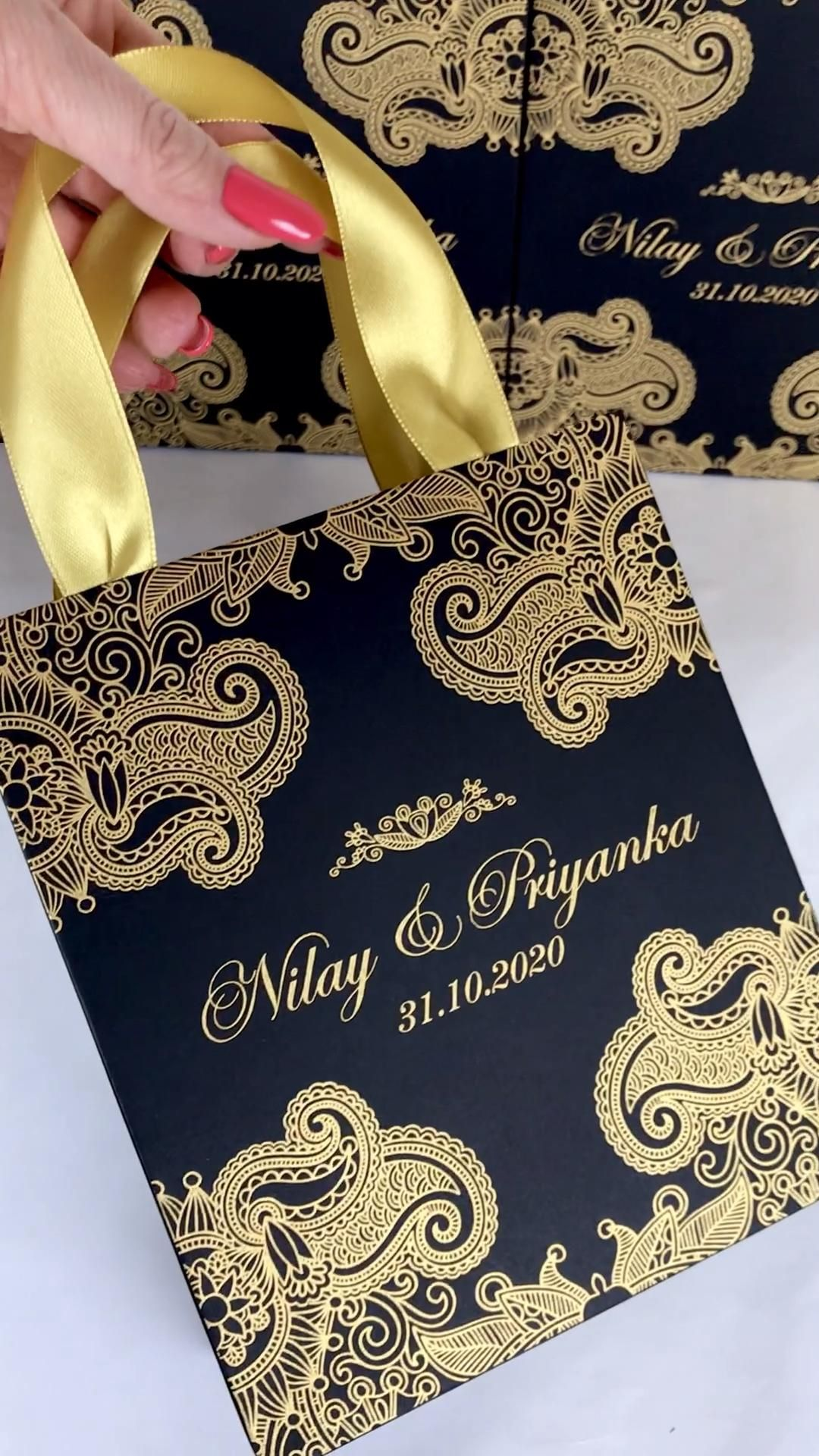 Black & Gold Wedding Welcome bags Personalized | E