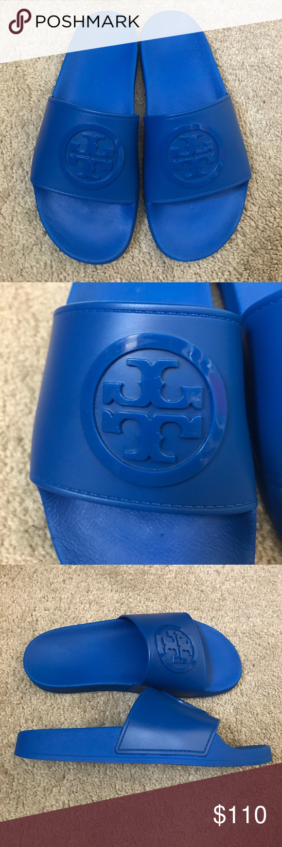 Tory Burch Anatomic Flat Slides sz 7 **These are new without tags and box. The bottom has a slight sticky residue from the price tag**  Casual rubber Tory Burch sandals with a signature logo detail. Textured insole and platform. Rubber sole.  Platform: 0.75in Tory Burch Shoes Sandals