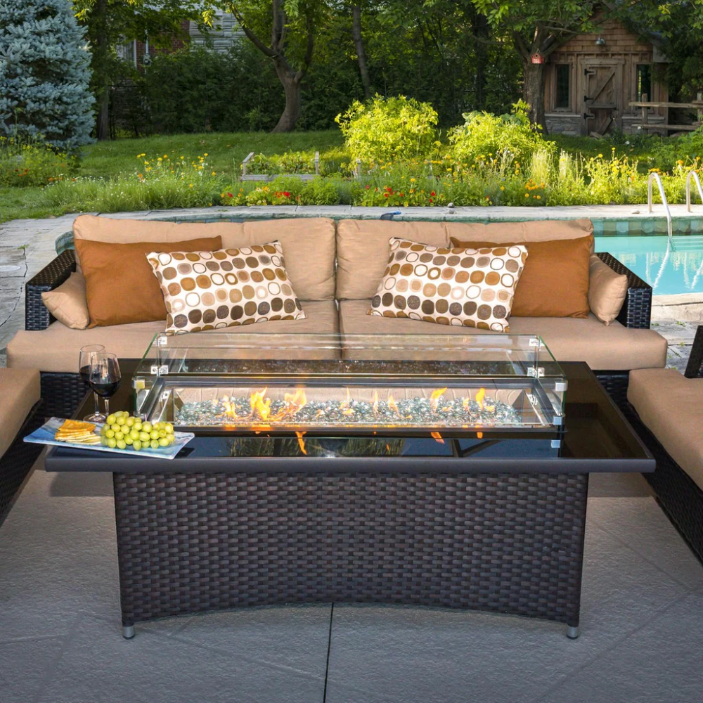 The Outdoor Greatroom Company Montego 59 Inch Linear Propane Gas Fire Pit Table Basalm Brown Mg 1242 Blsm K Gas Firepit Fire Pit Table Gas Fire Pit Table