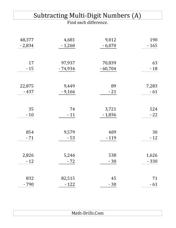 New 2012-12-07! Subtraction Worksheet -- Subtracting Various Multi ...