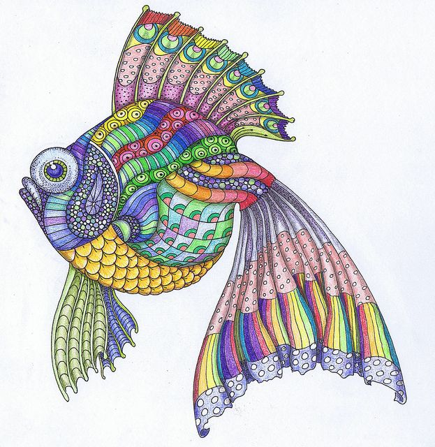 Zentangle fish (idee x riempimenti e colori)
