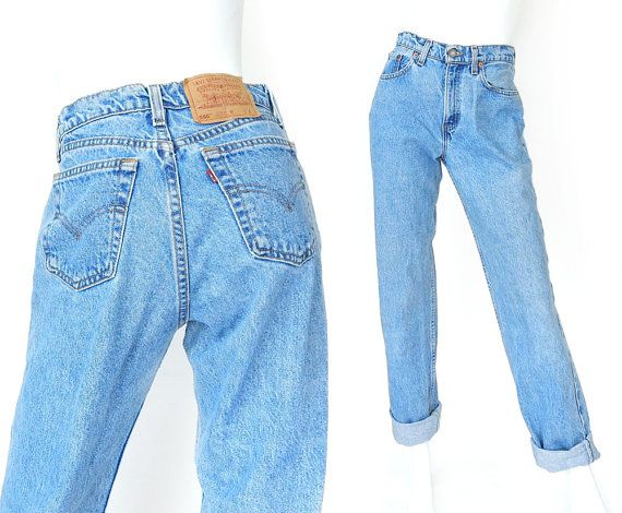 8c843a67d Early 1990s vintage women's Levi's 560 high waisted jeans in stone washed  blue denim. Featuring the classic 5 pocket design, loose fit, and tapered  legs.