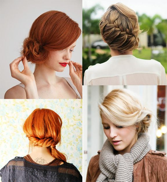 sweet updos. chignon, diagonal braid, pinned side ponytail, and side bun. via uber chic for cheap.