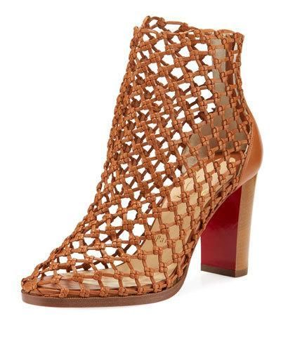 new product 5e8b0 9361c CHRISTIAN LOUBOUTIN PORLIGATICA CAGED RED SOLE BOOTIE ...