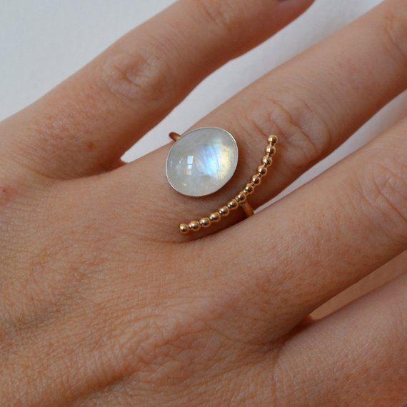 Photo of Moonstone Crescent Ring, 14K Gold Filled Ring, Rainbow Moonstone Ring, Open Stone Ring, Golden Gemstone Ring