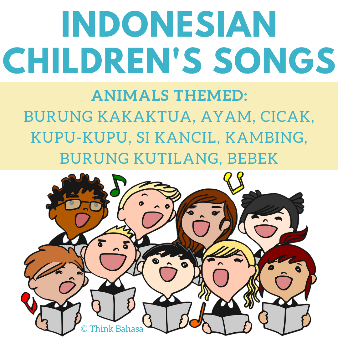 Animals themed Indonesian children's song posters (Lagu