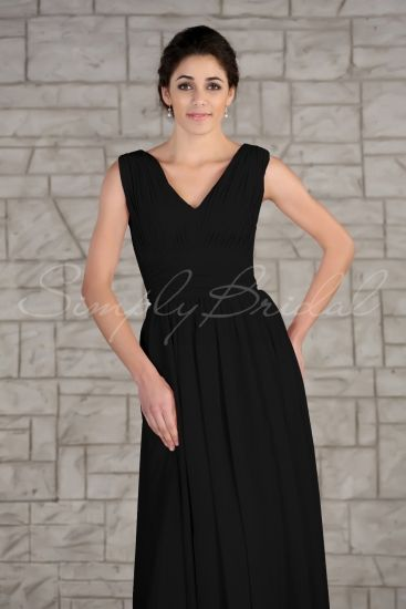 #85219 - Floor Length V-Neck Sleeveless Chiffon Dress - Bridesmaid Dress - Simply Bridal
