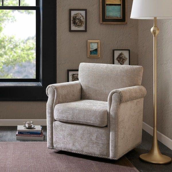 Madison Park Helleman Cream Swivel Chair