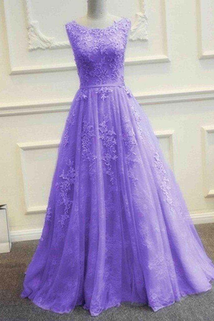 Purple tulle lace applique round neck A-line long evening dresses ... af584861db75