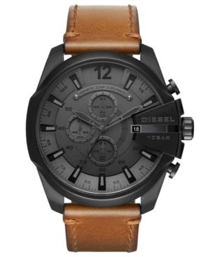 Diesel Men's Chronograph Mega Chief Brown Leather Strap Watch 51mm - Brown