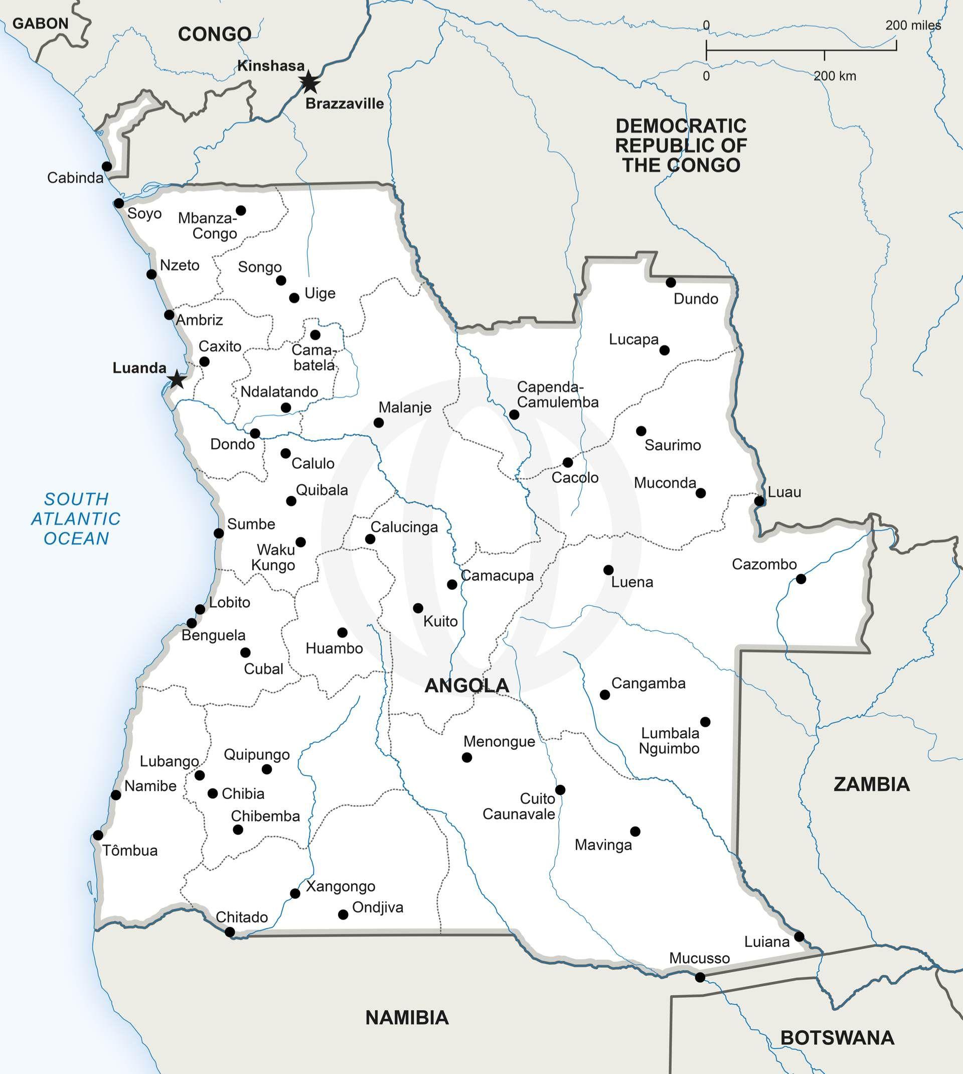 Vector Map of Angola Political