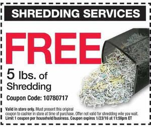 Get 5 FREE lbs. of document shredding at Office Depot/OfficeMax with this printable coupon. Expires 1/23/16.