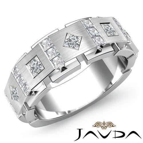 3c Diamond Man vs Men Solid Bezel Wedding Band Ring 18K Y Gold S10
