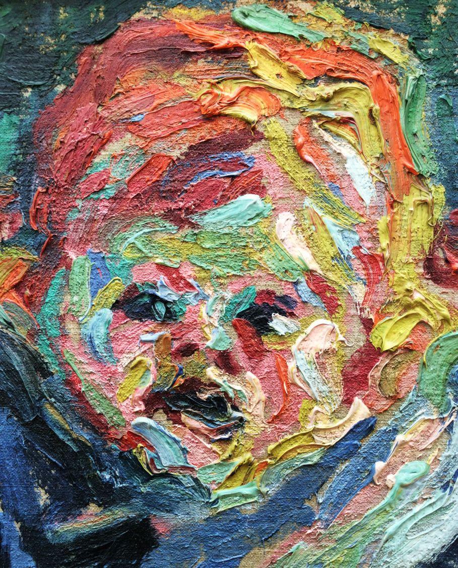 Erich Heckel, Enfant assise, 1906, détail du visage ...