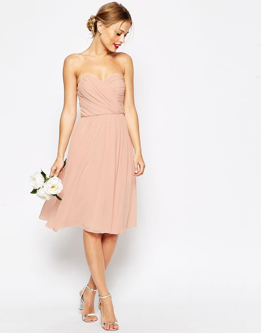 ASOS WEDDING Bandeau Midi Dress at asos.com  Kleider, Festliche