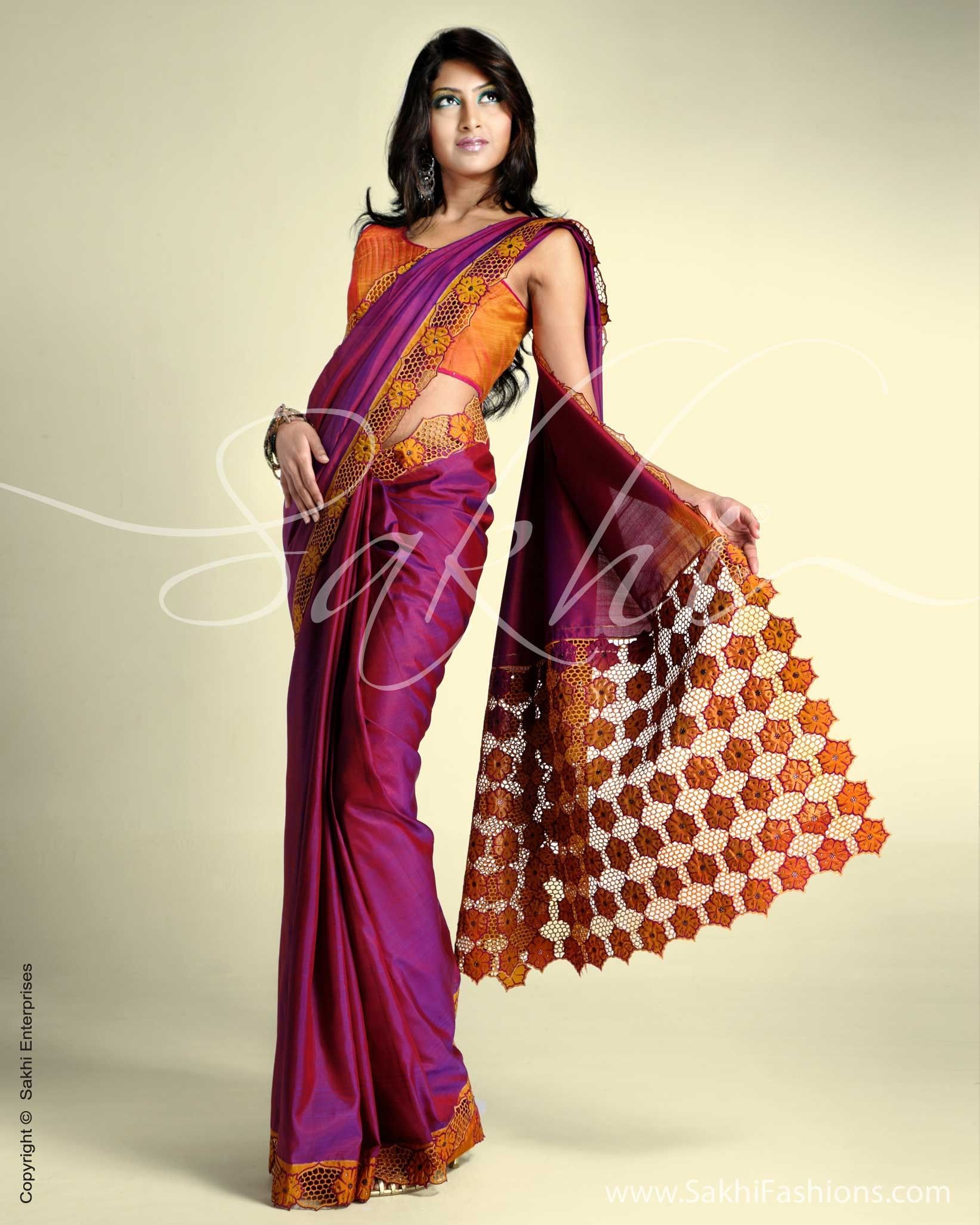 75f4bcbe85001e Lightweight silk with cutwork embroidery and stone work detailing on border  and pallu