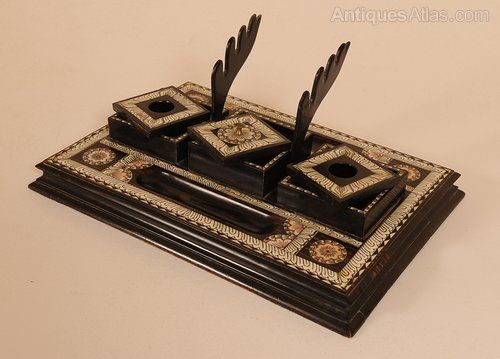 Antiques Atlas - Anglo-Indian Writing Desk Top Tidy Exquisite quality,  antique writing desk top. Made from Ebony with Ivory details inlaid. - Anglo-Indian Writing Desk Top Tidy Antiques For Sale At Lillyfee