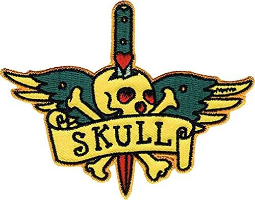 Single Count Custom And Unique Inches Realistic Detailed Ed Skeleton Skull W Sword Through It Iron On Embroidered Lique Patch Green Yellow