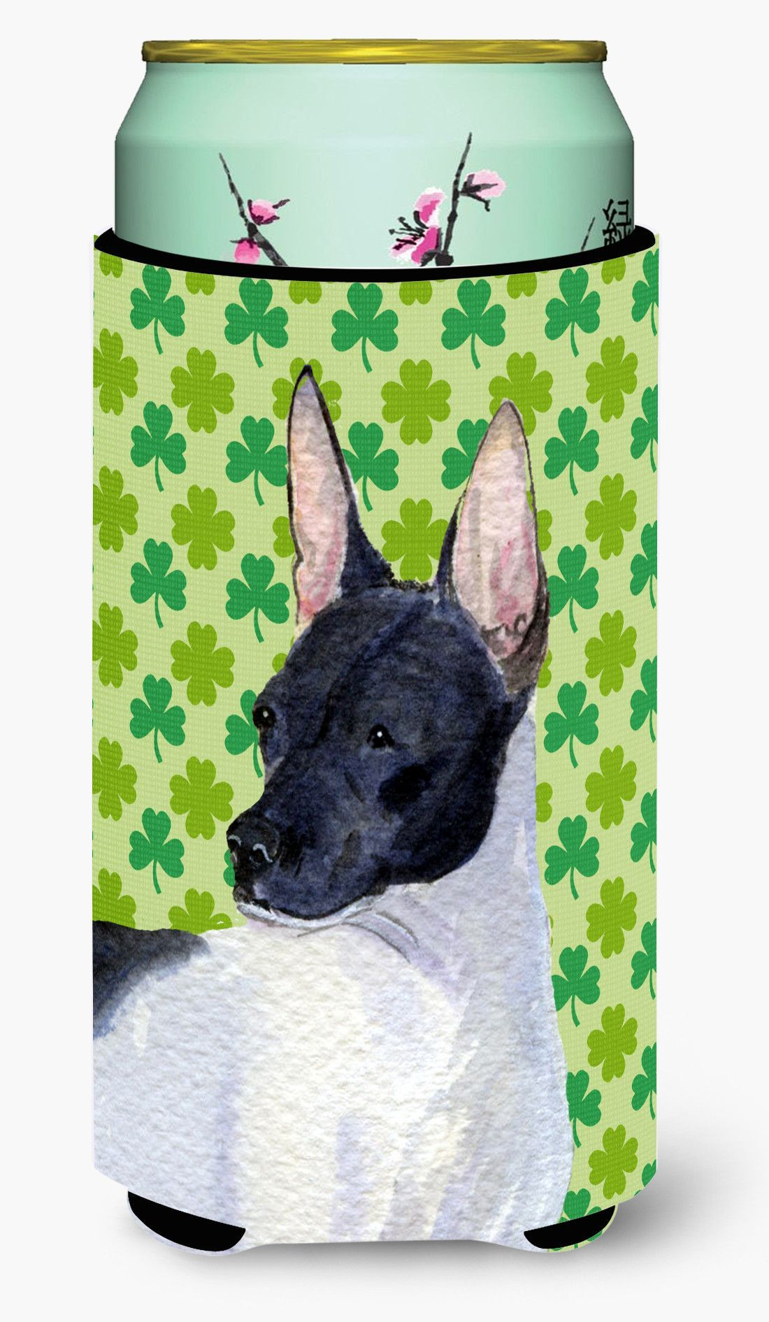 Rat Terrier St. Patrick's Day Shamrock Portrait Tall Boy Beverage Insulator Beverage Insulator Hugger