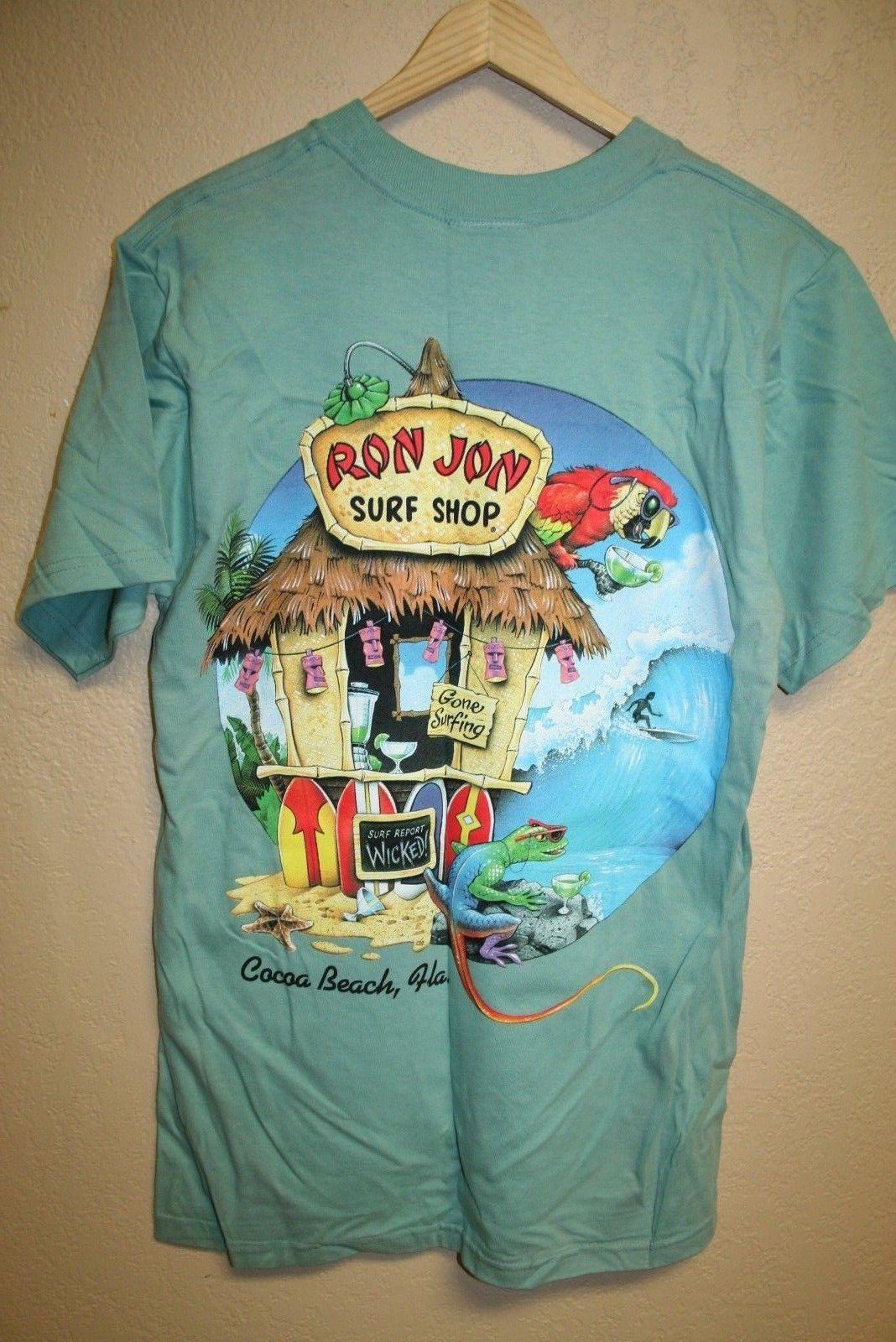 27f0b07b37 New Vtg Defective RON JON SURF SHOP Cocoa Beach Neon Graphic T Shirt SLIM  MEDIUM