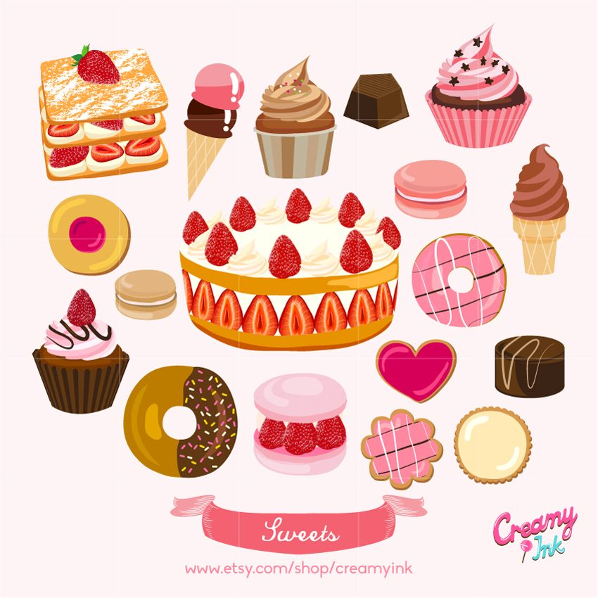 Sweets Digital Vector Clip art/ Cake Digital Clipart Design ...