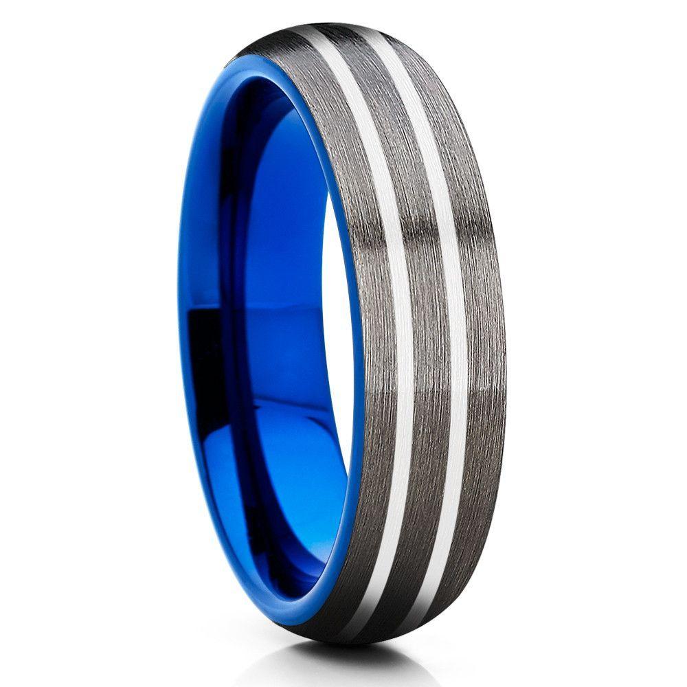 Gunmetal Tungsten Wedding Band 6mm Blue Ring: Wedding Band Gunmetal Blue At Websimilar.org