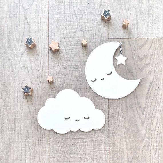 Les Enfants Chambre Décor Décoration Murale Argent Lune Et Nuages Art Mural Miroir Acrylique Pour Sommeil De Crèche