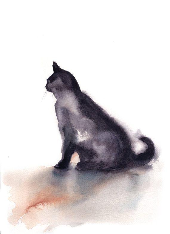 Peinture à l'aquarelle de chat, peinture minimaliste, peinture de chat, peinture originale, chat noir peinture