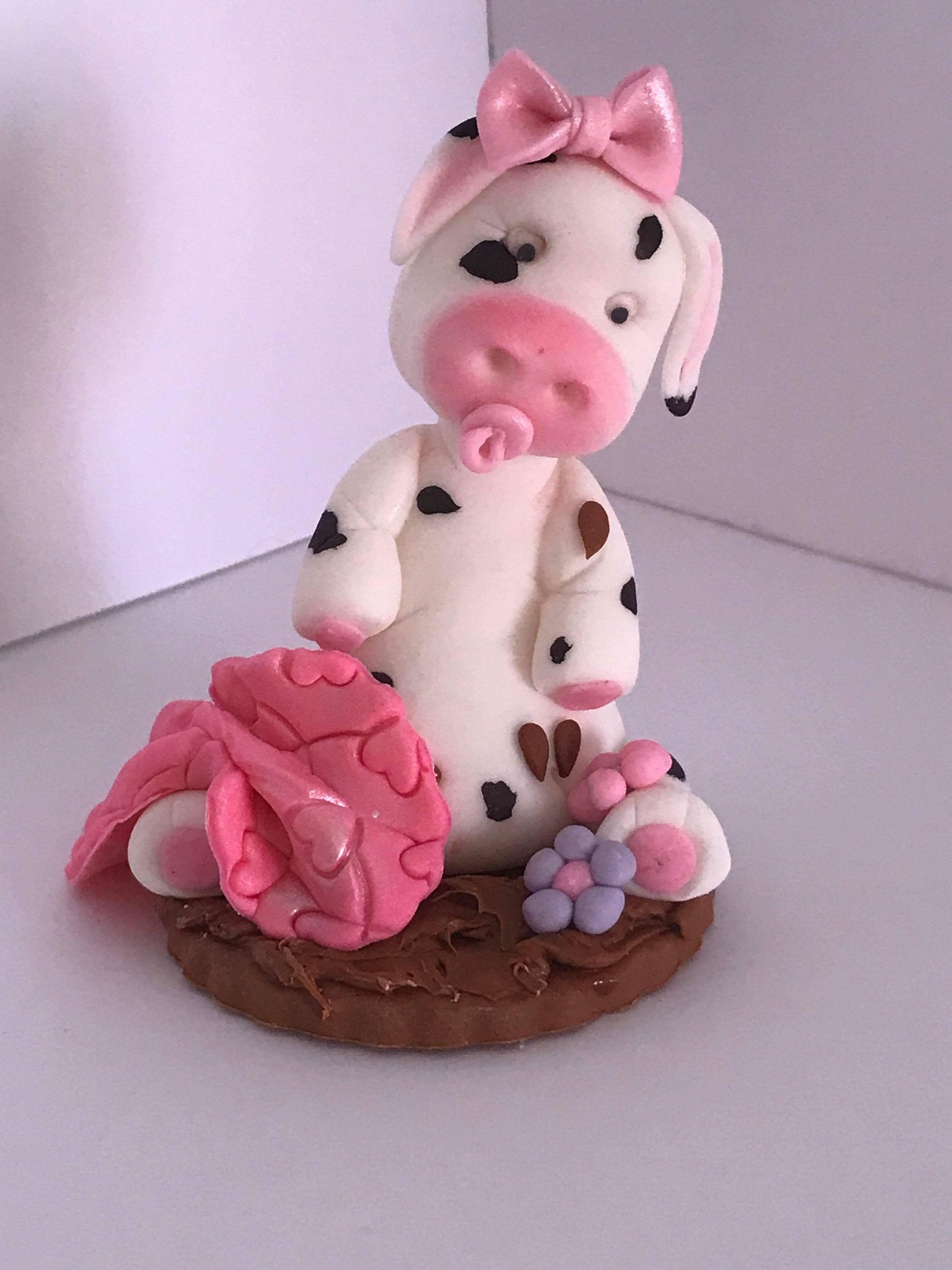 Baby cow with blanket fondant cake topper by
