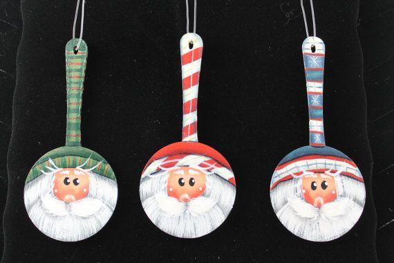 Wooden Spoon Santa Ornaments