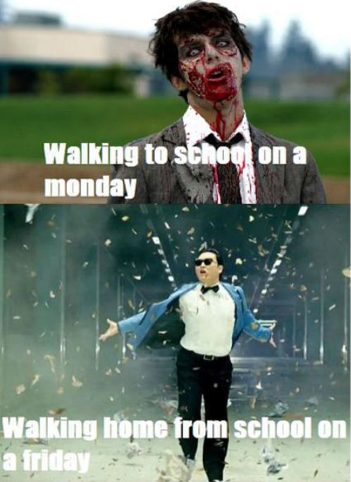 Monday and Friday - that should say work instead of school...