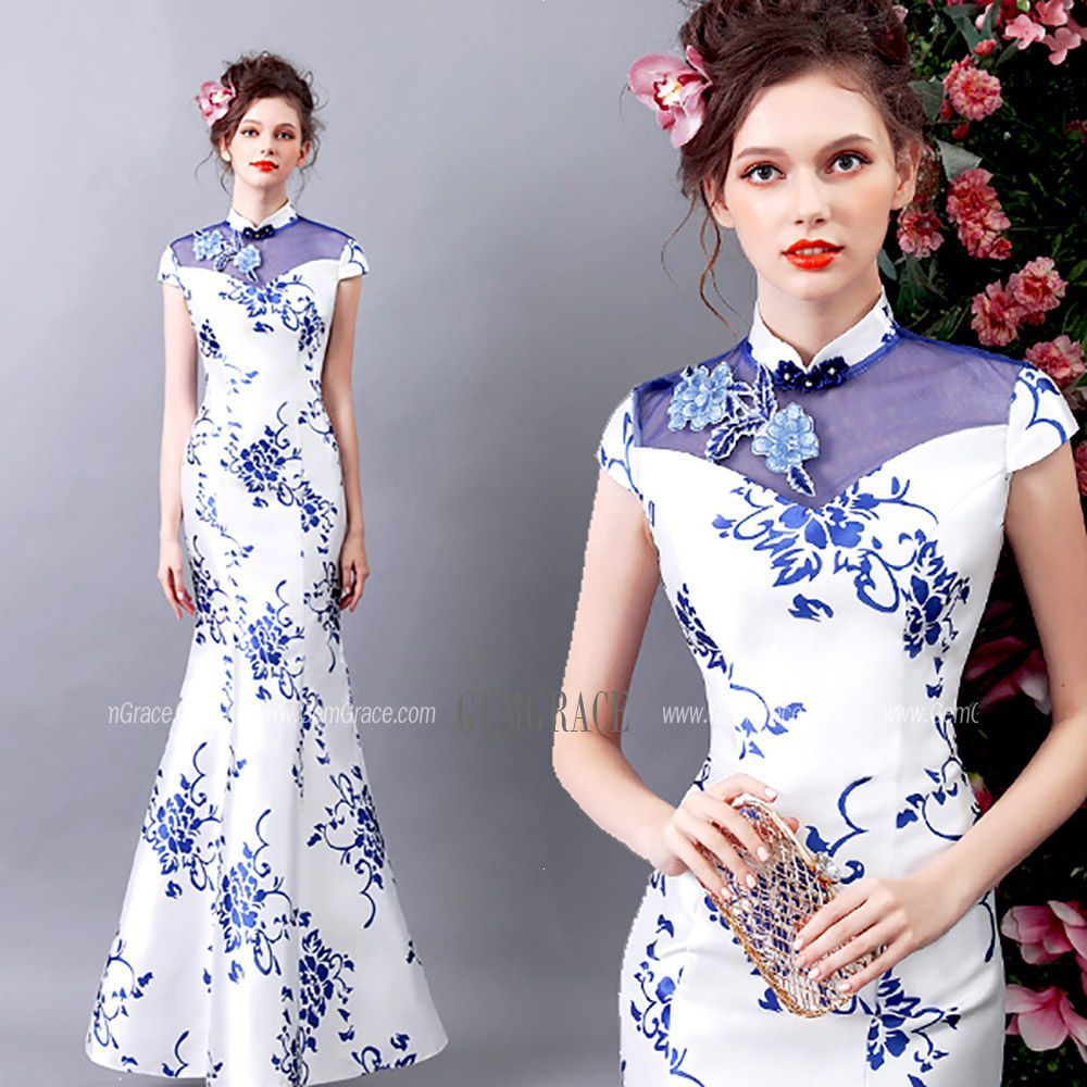 d67dabe8912ec Vintage Blue And White Tight Formal Dress With Printed Floral #T69407 at  GemGrace. #