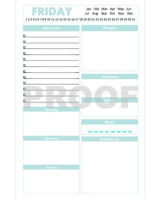 Half Size Planner Pages Daily Schedule Template Pdf Available To